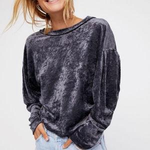 Free People Milan Crushed Velvet Sweatshirt